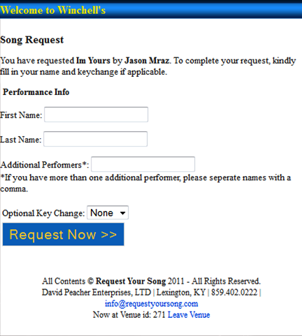 Request Your Song Performer Screen Update