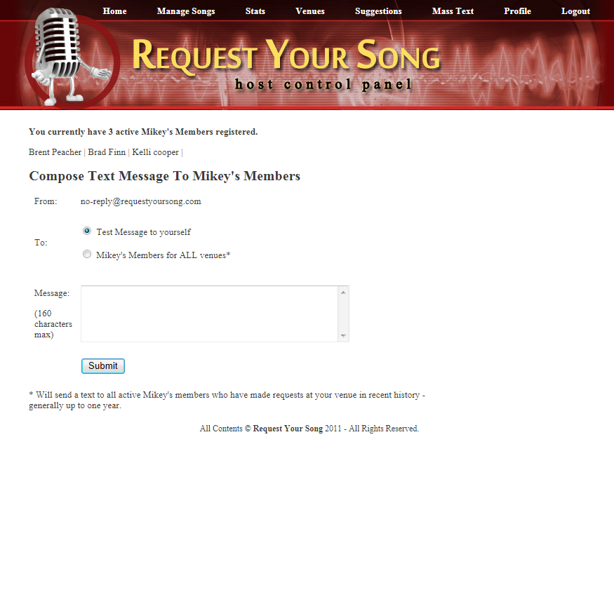 Request Your Song Mass Text Message Feature